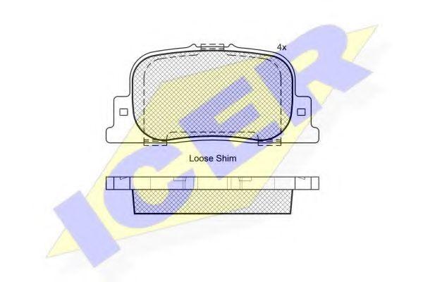 181633 ICER Комплект тормозных колодок, дисковый тормоз