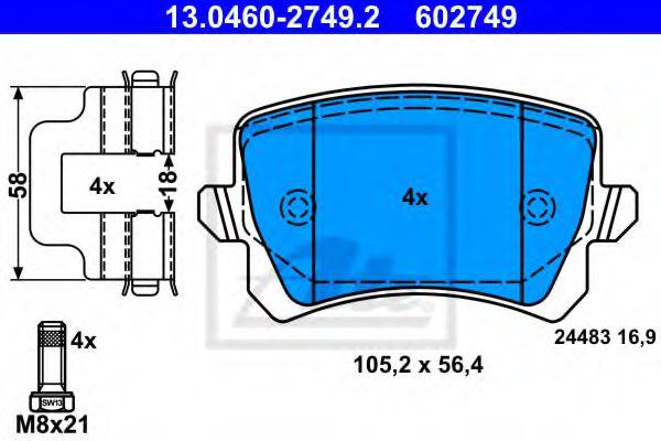 13.0460-2749.2 ATE Brake Pad Set, disc brake