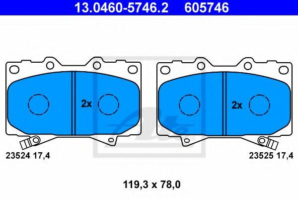 13.0460-5746.2 ATE Brake Pad Set, disc brake