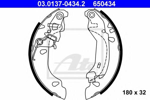 03.0137-0434.2 ATE Brake Shoe Set