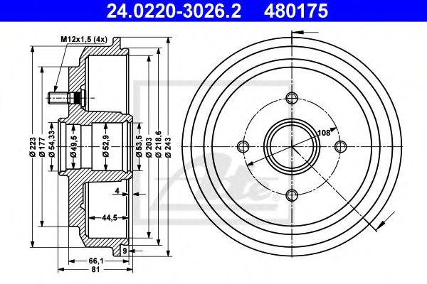24.0220-3026.2 ATE Brake Drum