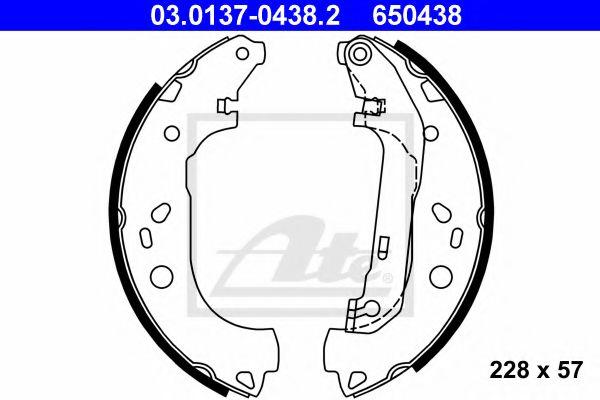 03.0137-0438.2 ATE Brake Shoe Set