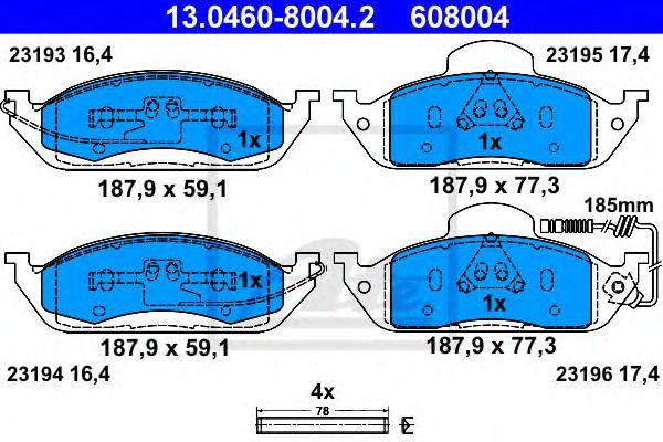 13.0460-8004.2 ATE Brake Pad Set, disc brake