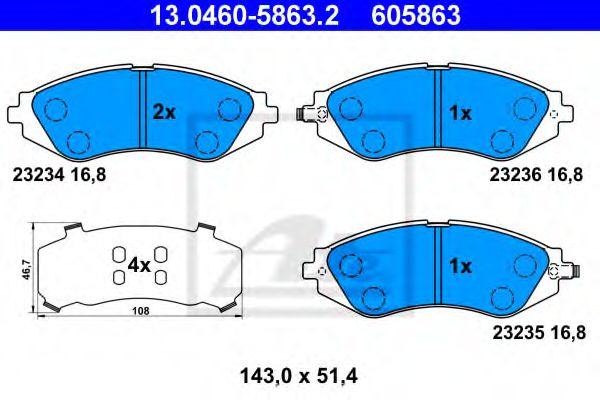 13046058632 ATE Brake Pad Set, disc brake