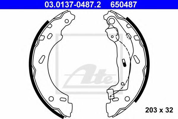 03.0137-0487.2 ATE Brake Shoe Set