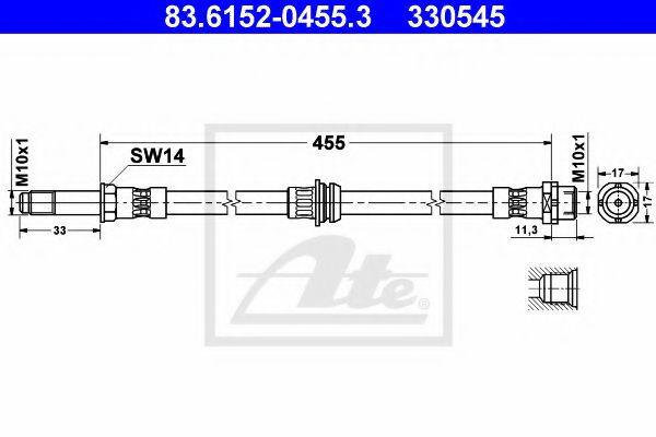 83.6152-0455.3 ATE Brake Hose