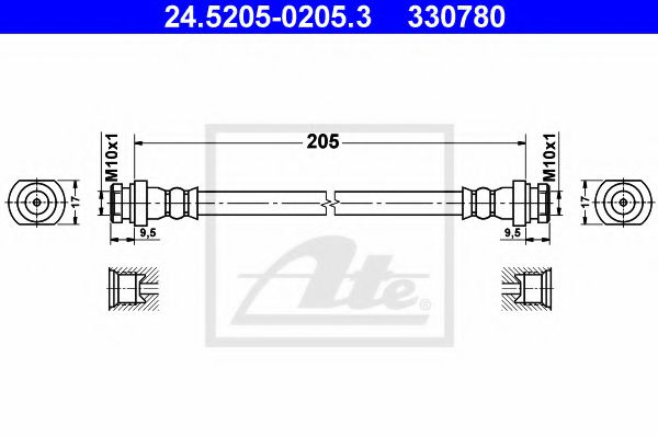24.5205-0205.3 ATE Brake Hose