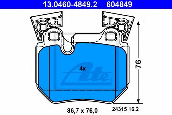13.0460-4849.2 ATE Brake Pad Set, disc brake