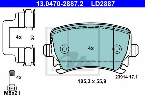 13047028872 ATE Brake Pad Set, disc brake