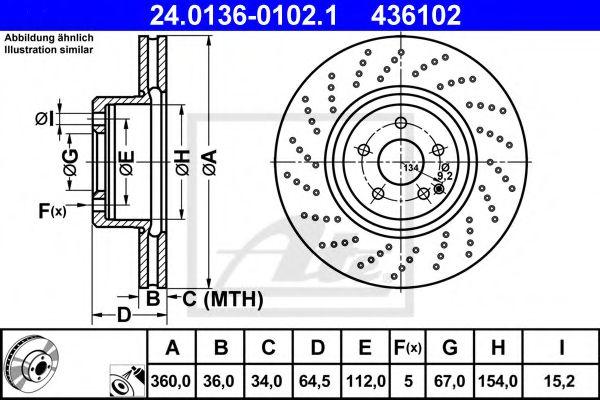 24.0136-0102.1 ATE Brake Disc