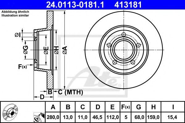 24.0113-0181.1 ATE Brake Disc