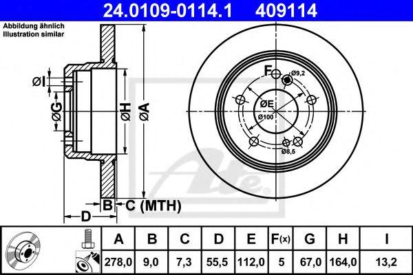 24.0109-0114.1 ATE Brake Disc