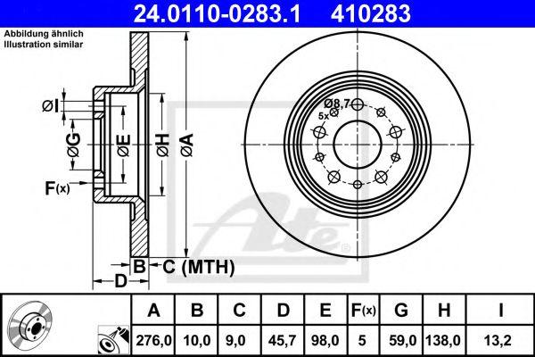 24.0110-0283.1 ATE Brake Disc