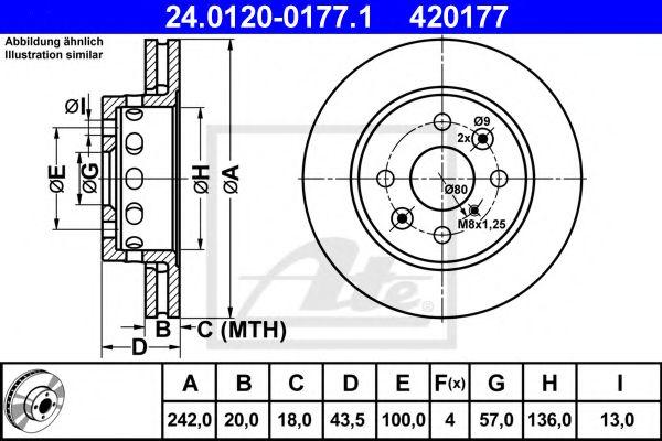 24.0120-0177.1 ATE Brake Disc