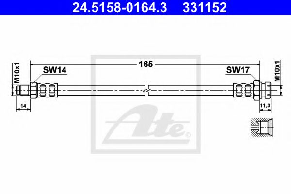24.51580164.3 ATE Brake Hose