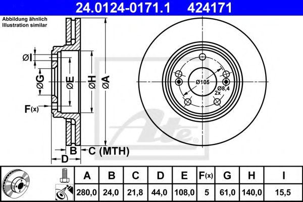 24.0124-0171.1 ATE Brake Disc