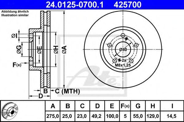 24.0125-0700.1 ATE Brake Disc