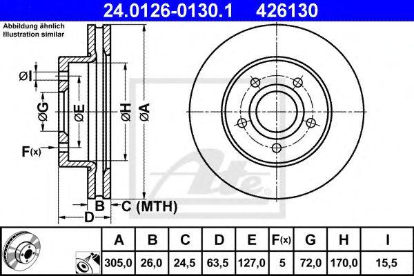 24.0126-0130.1 ATE Brake Disc