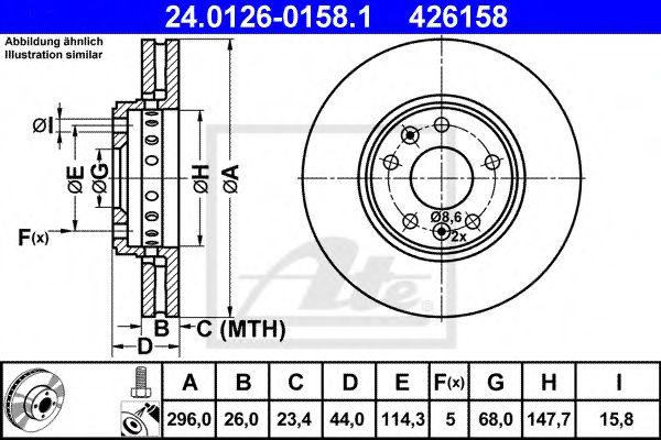 24.0126-0158.1 ATE Brake Disc