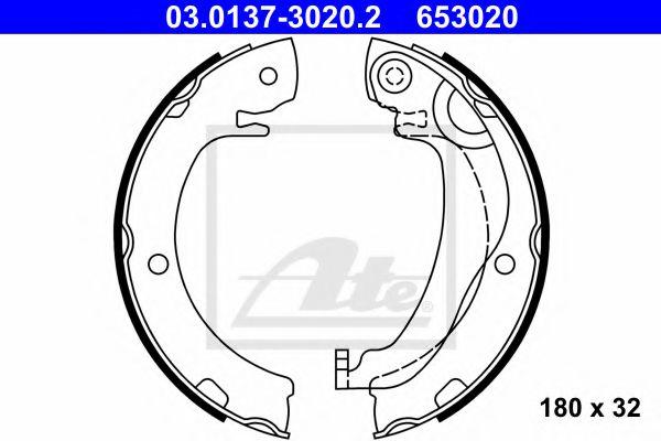 03.0137-3020.2 ATE Brake Shoe Set, parking brake