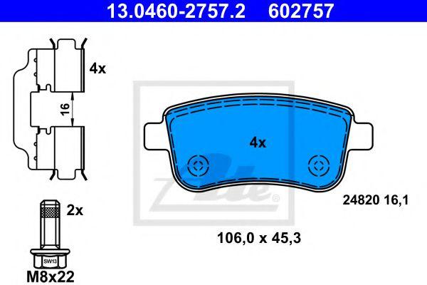 13.0460-2757.2 ATE Brake Pad Set, disc brake