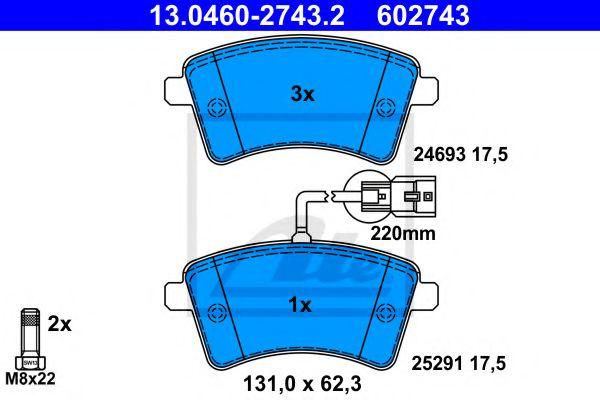 13.0460-2743.2 ATE Brake Pad Set, disc brake