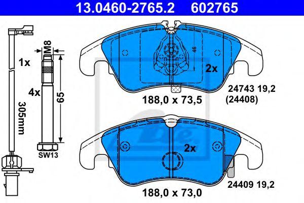 13.0460-2765.2 ATE Brake Pad Set, disc brake
