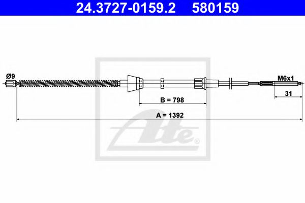 24372701592 ATE Cable, parking brake