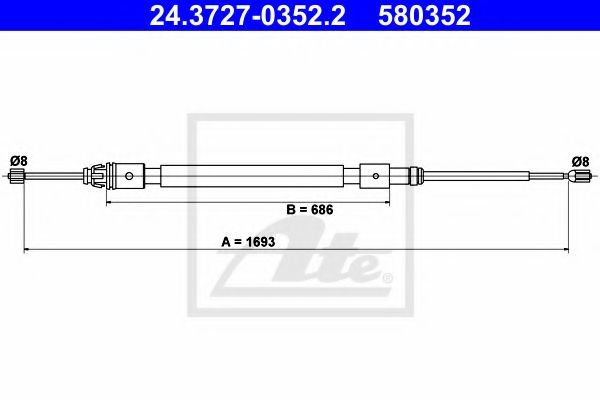 24.3727-0352.2 ATE Cable, parking brake