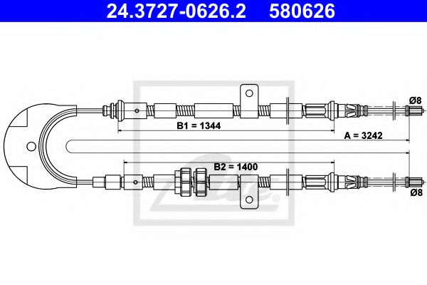 24.3727-0626.2 ATE Cable, parking brake