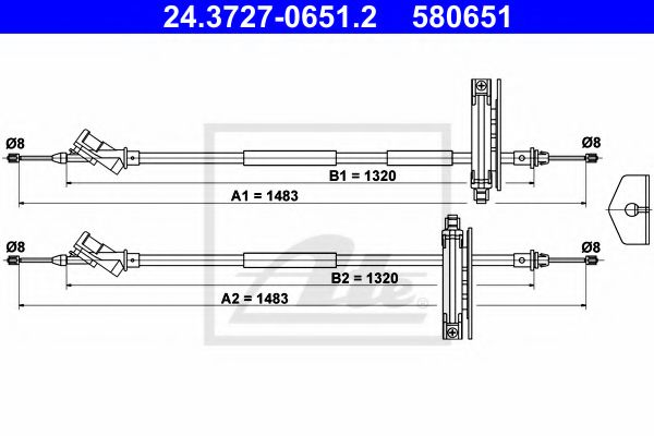24.3727-0651.2 ATE Cable, parking brake