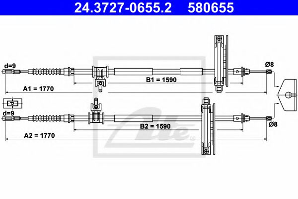 24.3727-0655.2 ATE Cable, parking brake