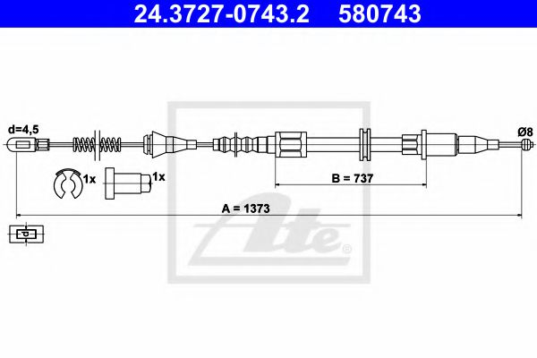24.3727-0743.2 ATE Cable, parking brake