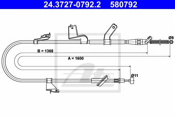 24.3727-0792.2 ATE Cable, parking brake