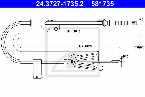 24.3727-1735.2 ATE Cable, parking brake