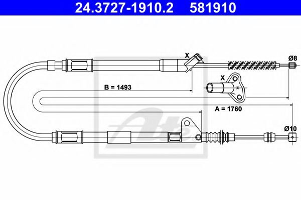 24.3727-1910.2 ATE Cable, parking brake