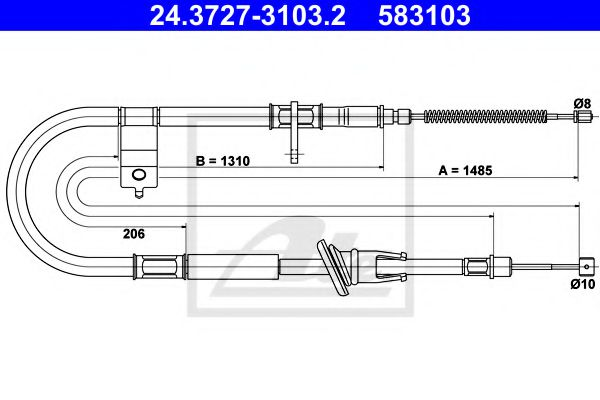 24.37273103.2 ATE Cable, parking brake