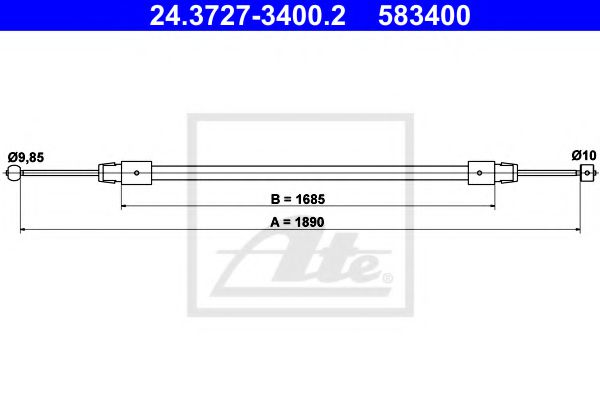 24.3727-3400.2 ATE Cable, parking brake