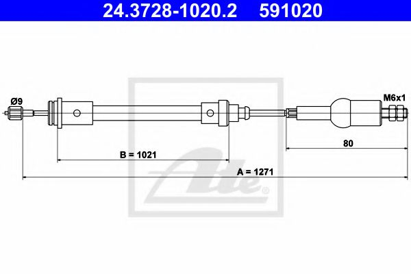 24.3728-1020.2 ATE Clutch Cable