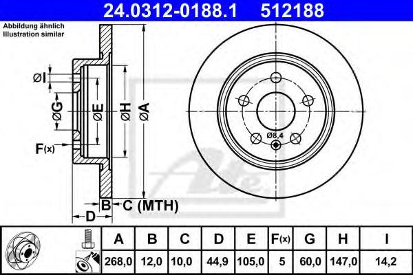 24.0312-0188.1 ATE Brake Disc
