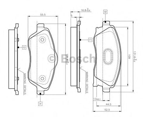 0 986 TB2 381 BOSCH Комплект тормозных колодок, дисковый тормоз