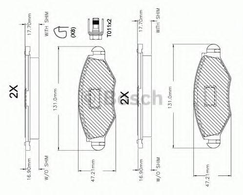 F 03A 150 014 BOSCH Комплект тормозных колодок, дисковый тормоз