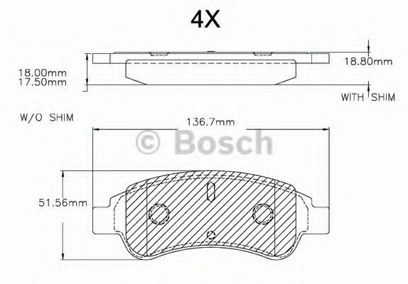 F 03A 150 025 BOSCH Комплект тормозных колодок, дисковый тормоз