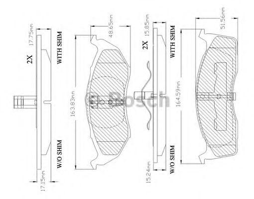 F 03B 150 029 BOSCH Комплект тормозных колодок, дисковый тормоз