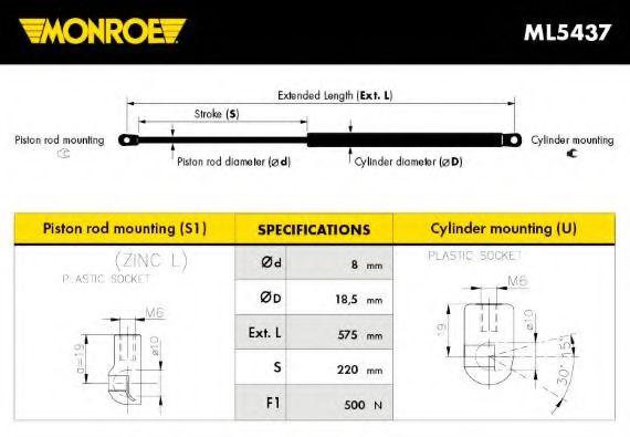 ML5437 MONROE Gasfeder, Koffer-/Laderaum