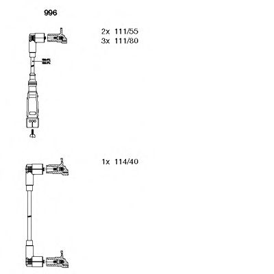 996 BREMI Комплект проводов зажигания