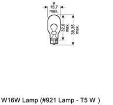 921 OSRAM Bulb, indicator; Bulb, brake-/taillight; Bulb, stop light; Bulb, rear fog light; Bulb, reverse light; Bulb, tail light; Bulb, park-/position light; Bulb; Bulb, position-/outline lamp; Bulb, position-/outline lamp