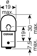 5008 OSRAM Bulb, indicator; Bulb, licence plate light; Bulb, tail light; Bulb, auxiliary stop light