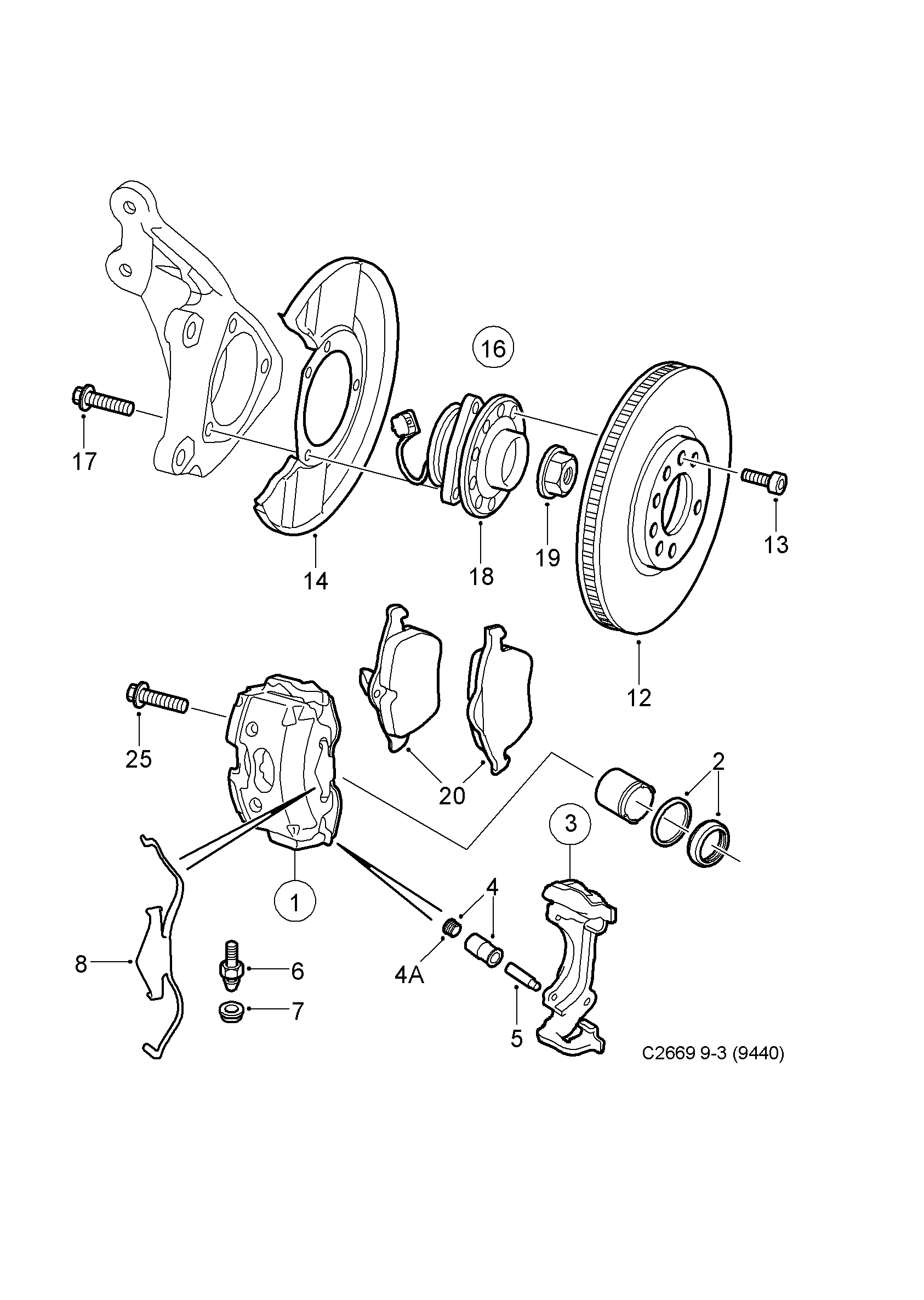 Brake disc and caliper, (2003-2005) , 4D,CV