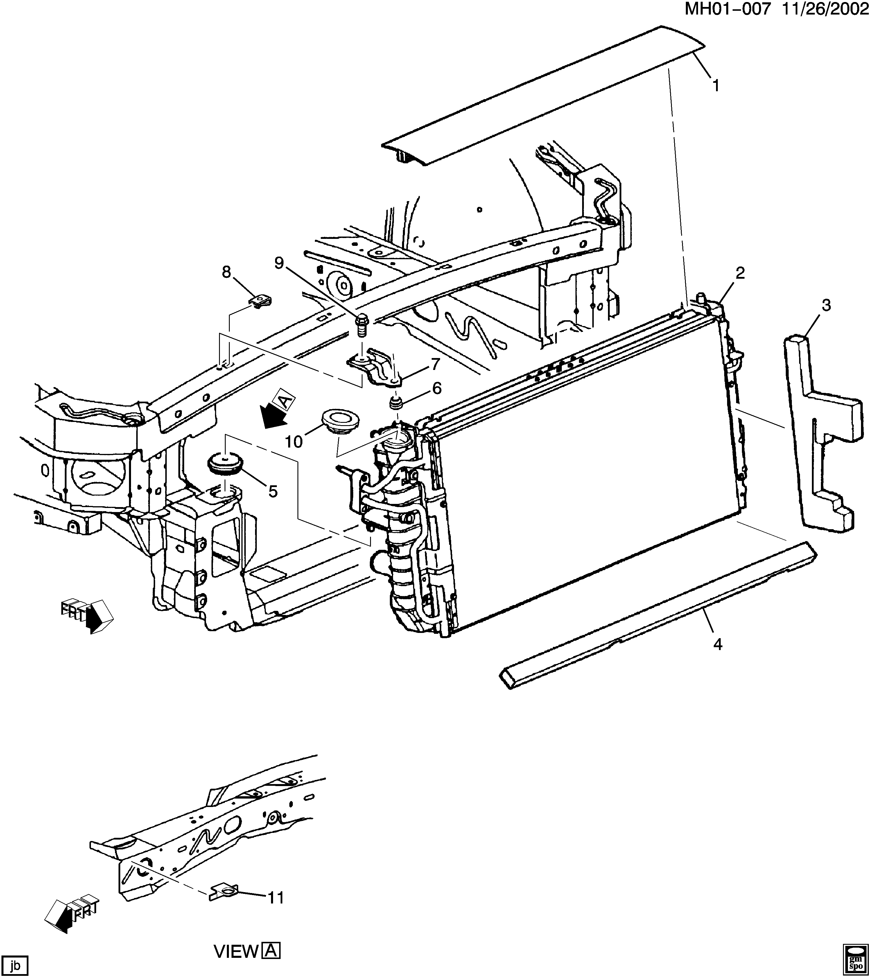 2000-2003 H RADIATOR MOUNTING & RELATED PARTS